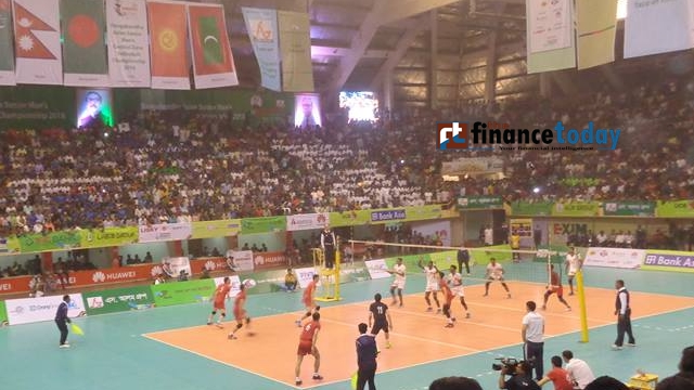 Bangladesh, Kyrgyzstan players are seen in action during Bangabandhu Asian Senior Men's Central Zone Int'l Volleyball Championship match at the Shaheed Suhrawardi Indoor Stadium in Mirpur on Sunday. Photo: Nirmal Barman